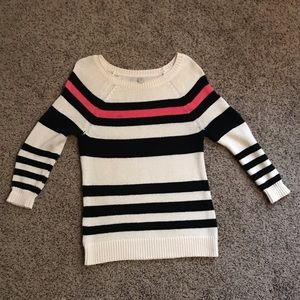 LOFT Pink and Black Sweater Size XS